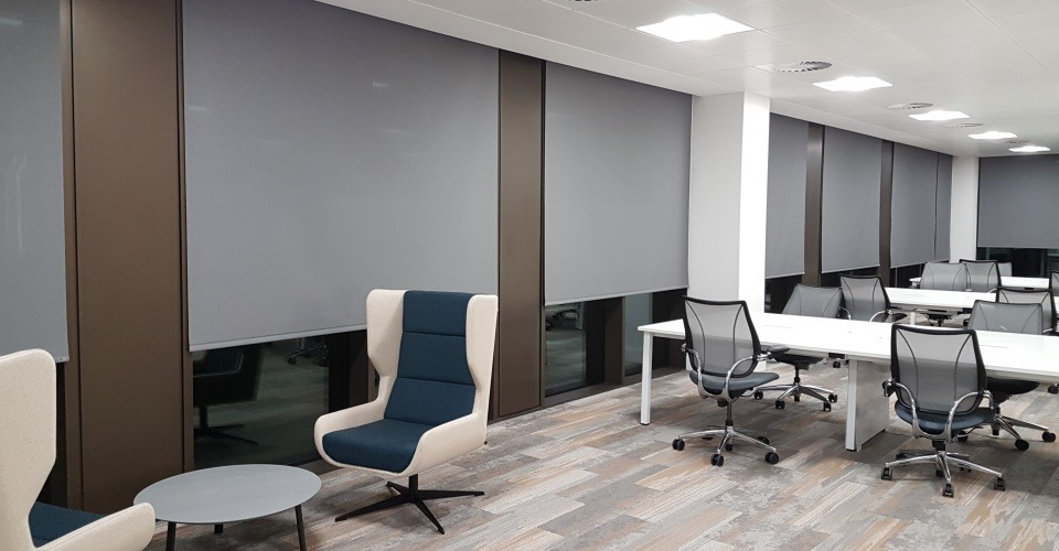 neptune roller blind fabric made from 100% recycled plastic for smart commercial office blinds